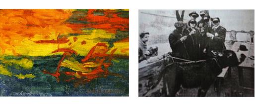 Et le soleil s'endormit sur l'adriatique  âne en train de peindre devant témoins